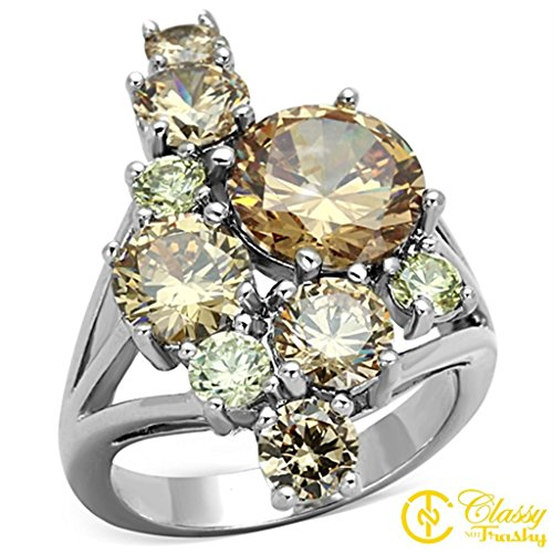 - Classy Not Trashy Women's Fashion Jewelry Ring, Premium Grade Brass Multi Color Cubic Zirconia CZ Clustered Style Ring Size 8