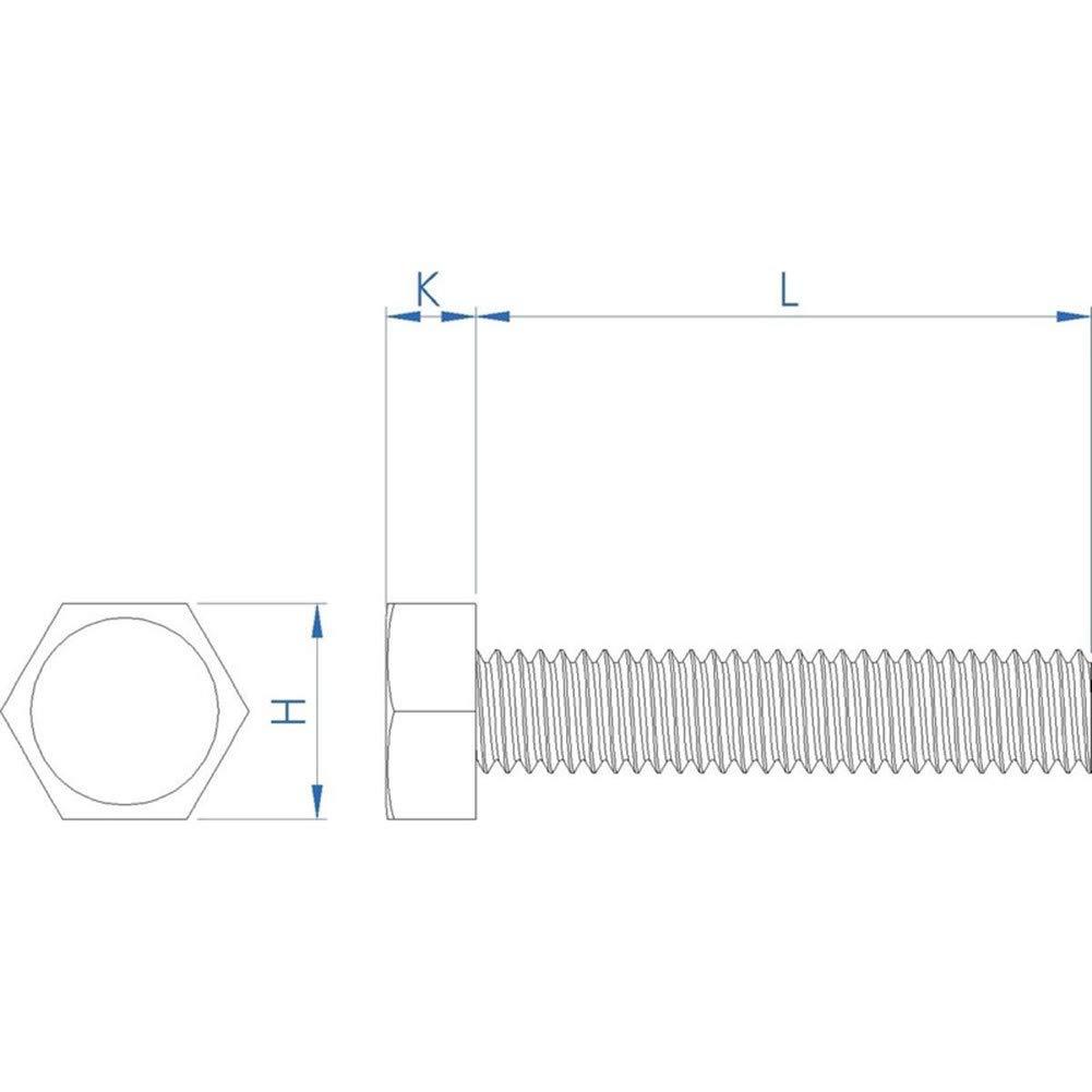 Fullerkreg 18-8 Stainless Steel Hex Head Screw M5 x 0.8 mm Thread 20 mm Long,Packs of 50