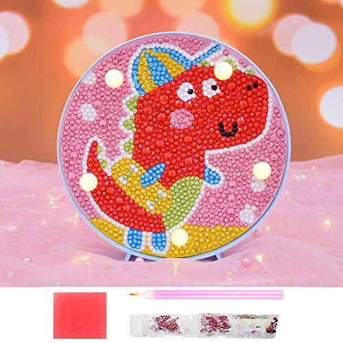 Diamond Painting Unicorn with LED Lights DIY Special Shaped Full Drill Crystal Diamond Drawing Bedside Lamp for Home Decoration or Gifts-6x6in -