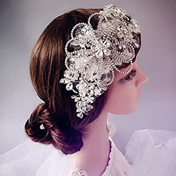 Amazon.com   Silver Rhienstone Floral Lace Headband Tiara Belt French Net  Bridal Wedding   Beauty 50b28c00f3c