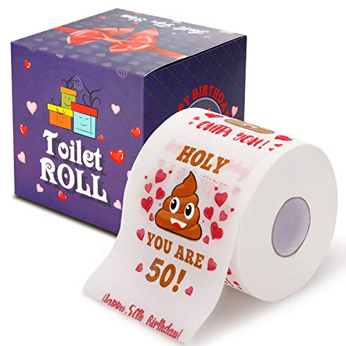 50th Birthday Gifts for Men and Women – Happy Prank Toilet Paper – 50th Birthday Decorations for Him, Her – Party…