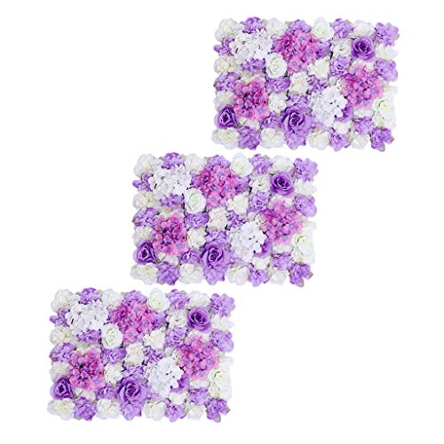 Prettyia Pieces of 3 Silk Flower Wall Panel Mat Indoor Outdoor Home Garden Hanging Wedding Venue Decor White and Purple 40 x 60cm from Prettyia
