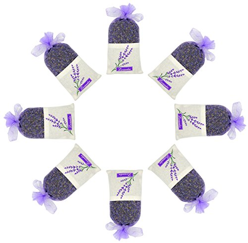 ESTAY Lavender Scented Sachet Fresh Dried Lavender Bag Moths Protection for Closet and Drawers Natural Air Purifying Freshener Bag (8 Big Pack) by ESTAY