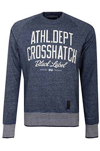 Crosshatch Herren Langarmshirt, Einfarbig Gr. Medium, Mood Indigo Marl - Blue