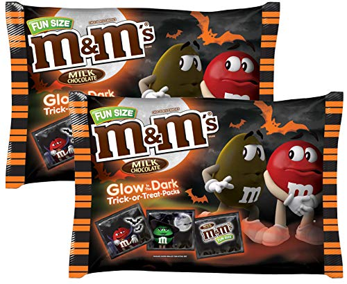 (M&M Milk Chocolate Glow In The Dark Halloween Candy Seasonal Hand Out Packs - Fun Size Trick or Treat MM Candies For Kids (2 Bags Total) - 17 oz (Approx)