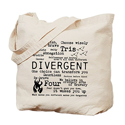 Cafepress – Divergent Words – Borsa di tela naturale, tessuto in iuta