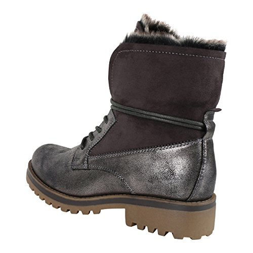 napoli-fashion Warm Gefütterte Damen Stiefeletten Outdoor Boots Kunstfell Stiefel Jennika Grau