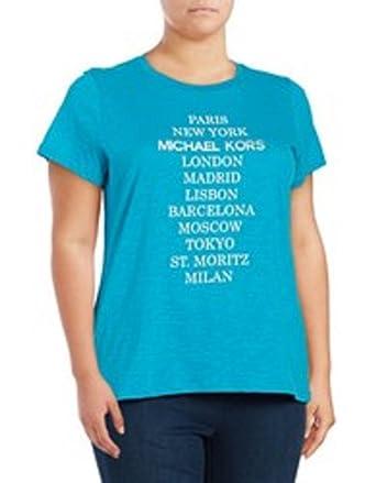 9d94c0ede MICHAEL Michael Kors Women's Cities Logo T-Shirt (Small, Dark Peacock)