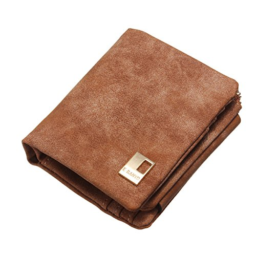 OURBAG Women's Vintage Suede Leather Zip Mini Wallet Short Design Card Holder Purse Coffee