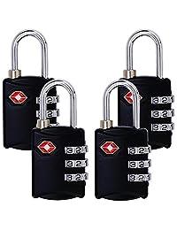 TSA Luggage Locks (4 Pack) - 3Digit Combination Steel Padlocks - Approved Travel Lock for Suitcases & Baggage