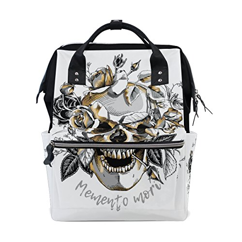 ALAZA Metallic Skull With Gold Roses Flowers Fashion Diaper