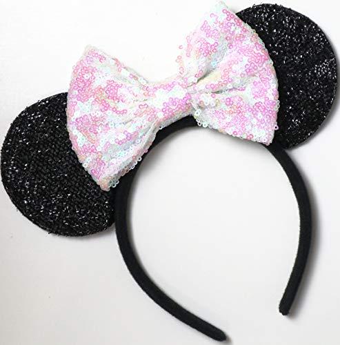 Iridescent Minnie Ears, White Mickey Ears, Wedding White Minnie Ears, Sparkly Mouse Ears, Bride Ears