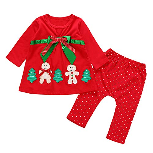 Kid Baby Girl Christmas Long Sleeve Gingerbread Man Tops + Dotted Pants Xmas Set (3-6 ()