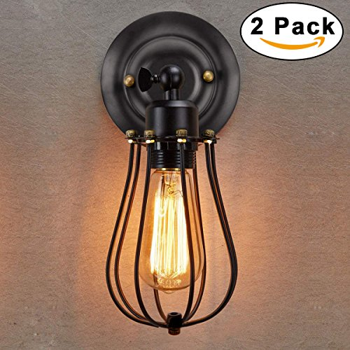 Wire Cage Wall Sconce 2 Pack, KINGSO Industrial Wall Light Shade Oil Rubbed Bronze Vintage Edison Style Mini Antique Light For Garage Gate Porch, 240 Degree Adjustable Single Head (No Bulb)