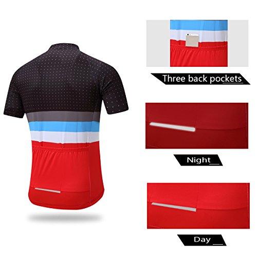 Men/'s Cycling Jersey Bib Shorts 3D Padding Road Bike Clothes Shirts Red Pocket