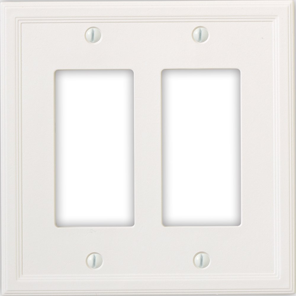 Questech Cornice Insulated Decorative Switch Plate/Wall Plate Cover – Made in the USA (Double Decorator, White)