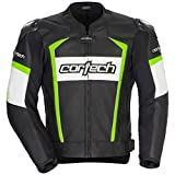 Cortech Adrenaline 2.0 Mens Leather Sports Bike Racing Motorcycle Jacket - Black/Hi-Viz Yellow / 2X-Large