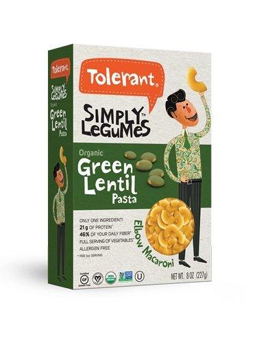 Tolerant Organic Gluten Free Green Lentil Elbow Pasta, 8oz - Case of 6 -