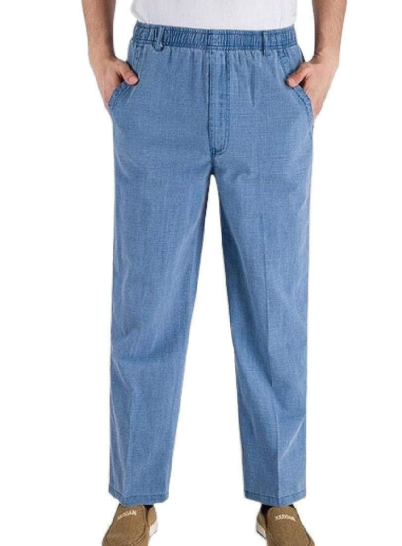 YYG Mens Straight Leg Plus Size Elastic Waist Classic Linen Long Pants
