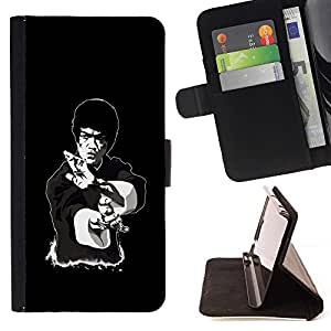 For Samsung ALPHA G850 Legendary Kung Fu Guy Beautiful Print Wallet Leather Case Cover With Credit Card Slots And Stand Function