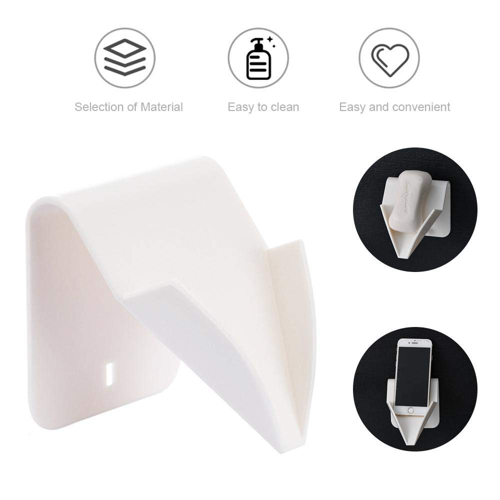 Hamkaw Soap Dish Creative Punch-Free Soap Holder Dish with Drain Multifunctional Eco-Friendly Traceless Wall Soap Container for Shower Bathroom and Kitchen Sink