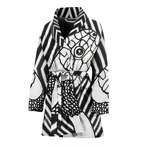 Paws With Attitude Blank & White Snake Print Women's Bath Robe ()