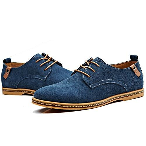 Cior Heren Oxford Classic Dress Suede Leren Vrijetijdsschoenen Lace-up Loafer Flats Sneakers 01blue