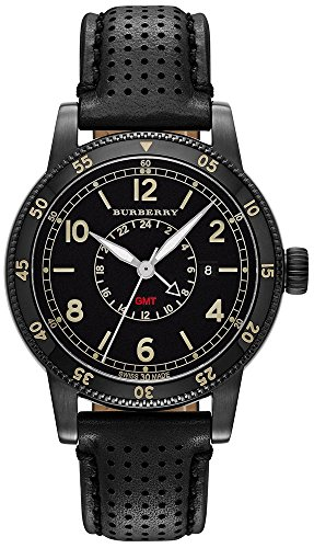 BURBERRY MENS THE UTILITARIAN WATCH BLACK LEATHER BU7867