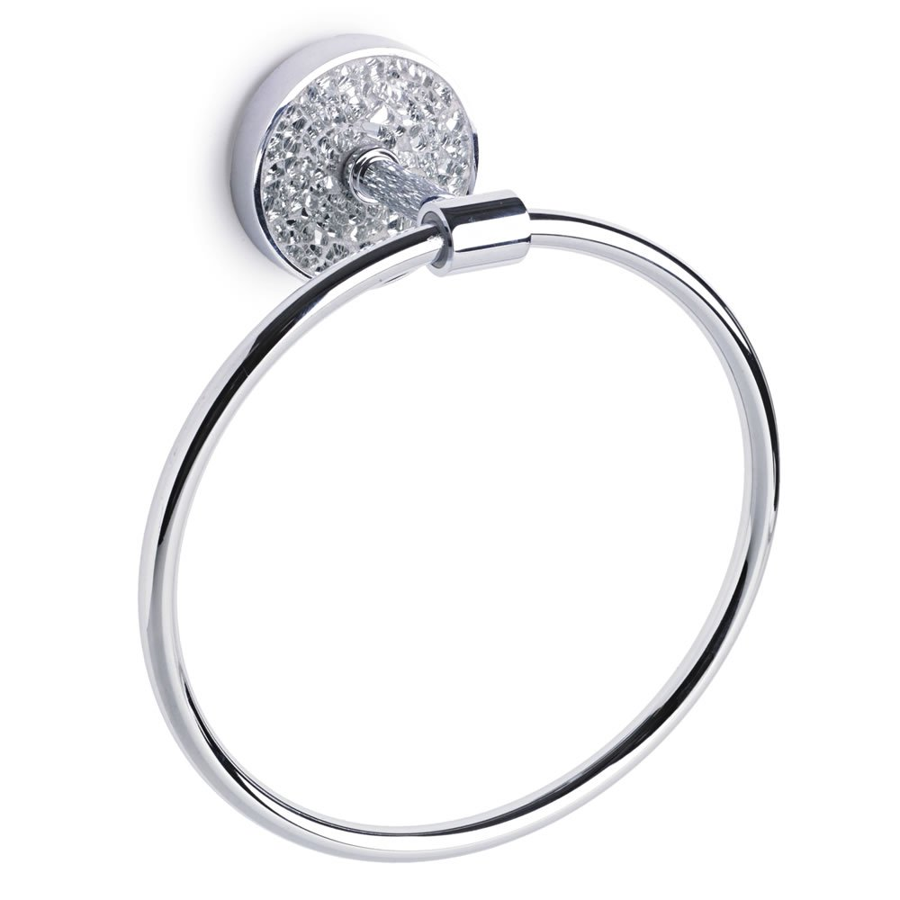 Home Treats Bathroom Towel Ring Silver Mosaic Amazoncouk - Silver crackle glass bathroom accessories