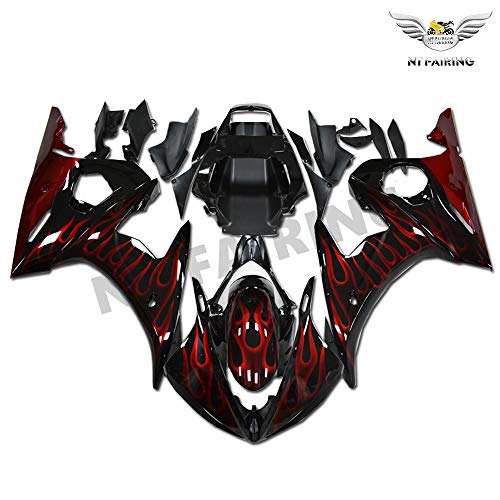 NT FAIRING Red Flames Injection Mold Fairing Fit for Yamaha YZF 2003-2005 R6 & 2006-2009 R6S New Painted Kit ABS Plastic Motorcycle Bodywork Aftermarket