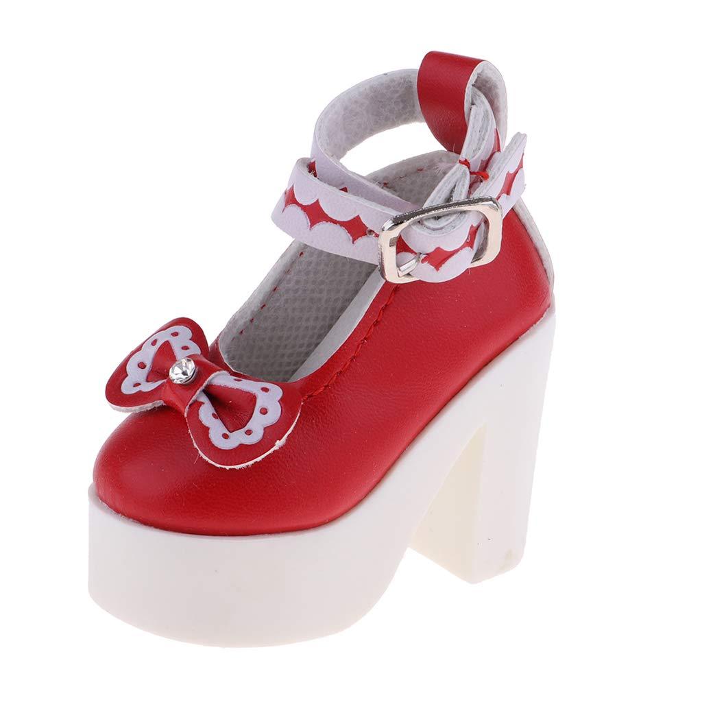 Rouge Baoblaze Chaussures /à Talons Bowknot Convient pour 1//3 BJD Girl Dolls
