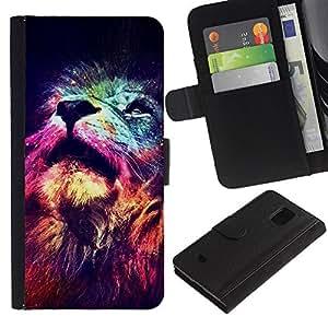 Billetera de Cuero Caso Titular de la tarjeta Carcasa Funda para Samsung Galaxy S5 Mini, SM-G800, NOT S5 REGULAR! / lion cosmos deep universe space king / STRONG