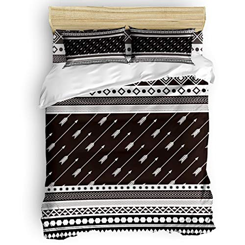 Laibao Home 4 Piece Bedding Set for Children/Adults/Kids/Teen, Soft Bed Sheets, Duvet Cover, Flat Sheet, Pillow Covers, Aztec Style Arrows Pattern Printing Bedding Sets King ()