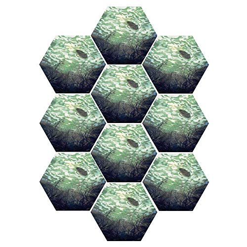 C COABALLA Fantasy World Durable Hexagon Ceramic Tile Stickers,Underwater World with Tree Branches Stones Waves and Reflection of Sun Digital Art for Living Room Kitchen,9