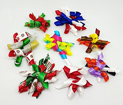 PET SHOW Pet Small Dogs Hair Bows With Rubber Bands Cat Hair Accessories Grooming Supplies Curly Assorted Styles Pack of 20 by PET SHOW (Image #2)