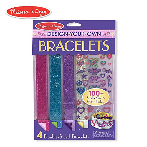 Melissa & Doug Design-Your-Own Bracelets (Arts & Crafts, Easy Tab Closure, Reversible and Adjustable, 4 Double-Sided Bracelets) -