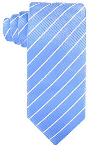 (Striped Ties for Men - Woven Necktie - Baby Blue w/White)