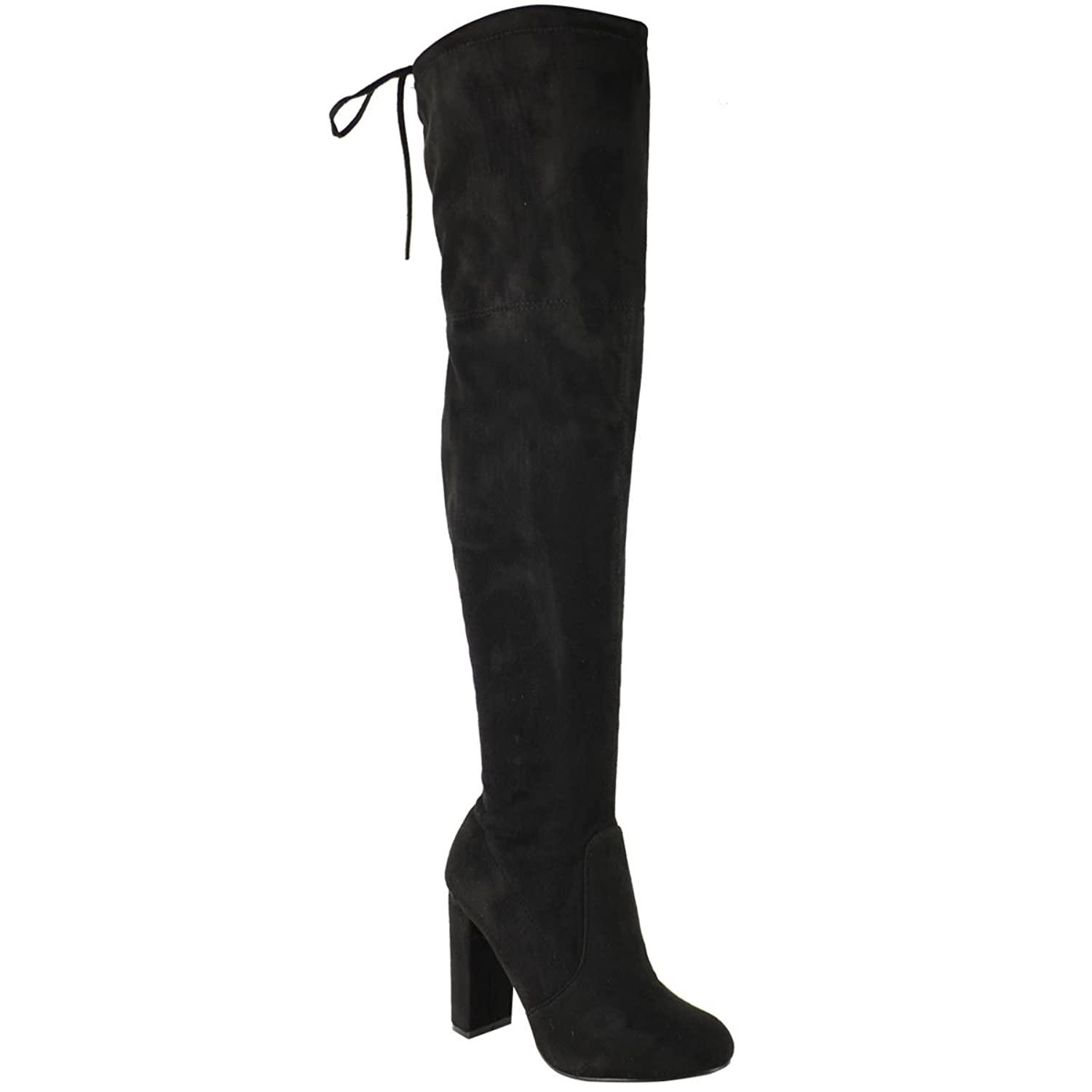 b53ec864bbb WOMENS LADIES THIGH HIGH BOOTS OVER THE KNEE PARTY STRETCH BLOCK MID HEEL  SIZE