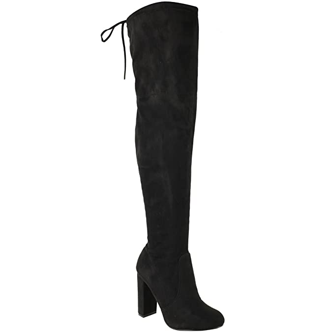 b7801e58b911 WOMENS LADIES THIGH HIGH BOOTS OVER THE KNEE PARTY STRETCH BLOCK MID HEEL  SIZE  Amazon.co.uk  Clothing