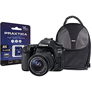 Canon EOS 80D SLR Camera Kit with EF-S 18-55 mm IS STM Lens/16 GB SD Card and Case – Black