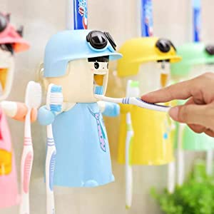 Rain House Kids Toothbrush Holders with Cup, Cute Hands Free Toothpaste Dispensers Children Automatic Cartoon Toothpaste Squeezer case, Wall-Mounted Bathroom Kit Easy to Clean (Blue)