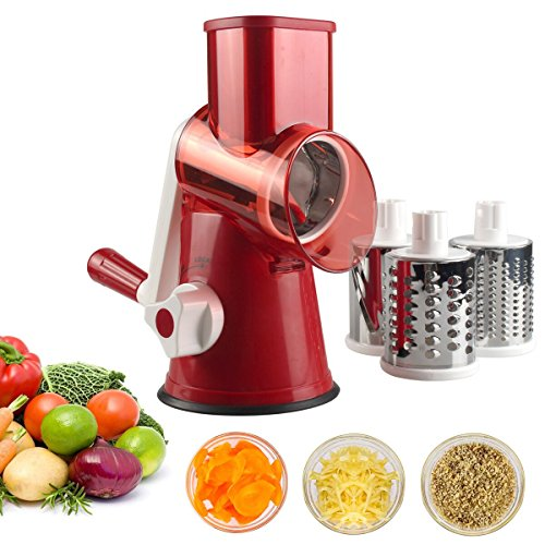 Vegetable Mandoline Slicer, Zacfton Vegetable Fruit Cutter Cheese Shredder Rotary Drum Grater with 3 Stainless Steel Rotary Blades and Suction Cup Feet (Red)