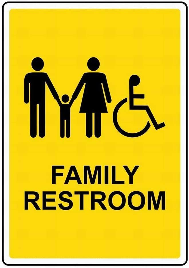 Street Signs DYLAN MILLER Road Sign Family Restroom BIN0380 8 x 12 Inches Metal Sign Durable Indoor and Outdoor Signs
