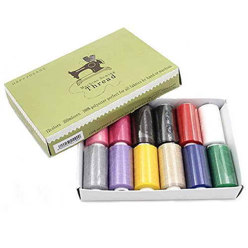 Assorted Thread 12 Spools (12 Assorted Spools of Polyester Sewing Thread 383 Yards Each for All fabrics by Hand or Machine)