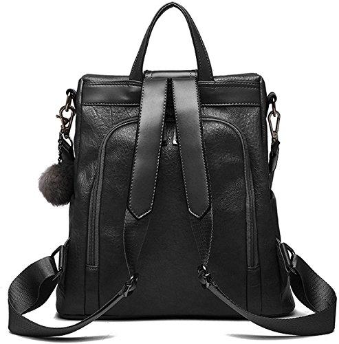 Riavik Women Backpack Purse Waterproof Nylon Anti-theft Rucksack Scool Shoulder Bag for Girls PU-Black by Riavika (Image #1)