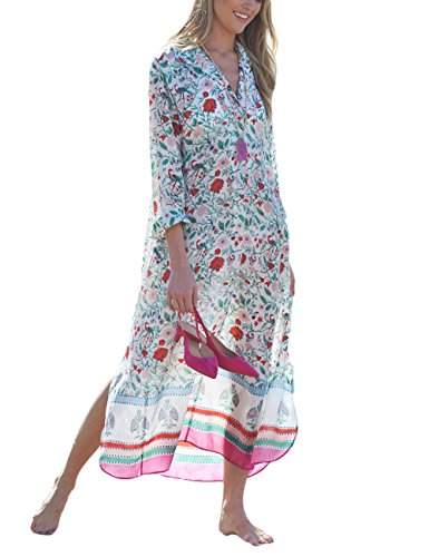- Bsubseach Chiffon Print Beach Dress Long Sleeve Bikini Kaftan Cover Ups for Swimwear Women