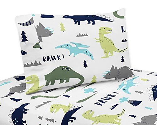 3 Piece Twin Sheet Set for Blue and Green Modern Dinosaur Be