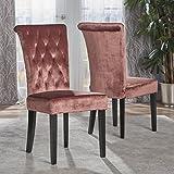 Christopher Knight Home 301780 Venetian Tufted New Velvet Dining Chair, Blush/Dark Brown