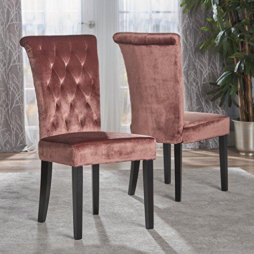Cheap Christopher Knight Home 301780 Venetian Tufted New Velvet Dining Chair, Blush/Dark Brown