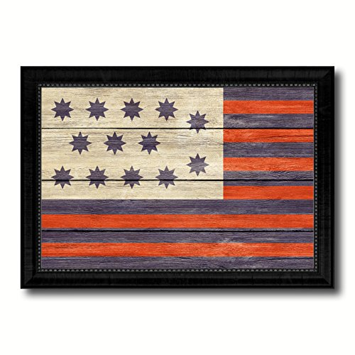 Guilford Courthouse North Carolina Revolutionary War Military Flag Texture Canvas Print Black Picture Frame Home Decor Wall Art Decoration Gift Ideas Signs 15